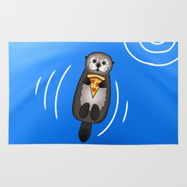 Sea Otter with Pizza Rug