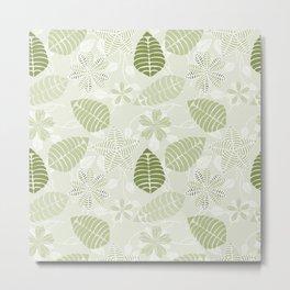 Olive Green Tropical Leaf Floral Pattern Metal Print
