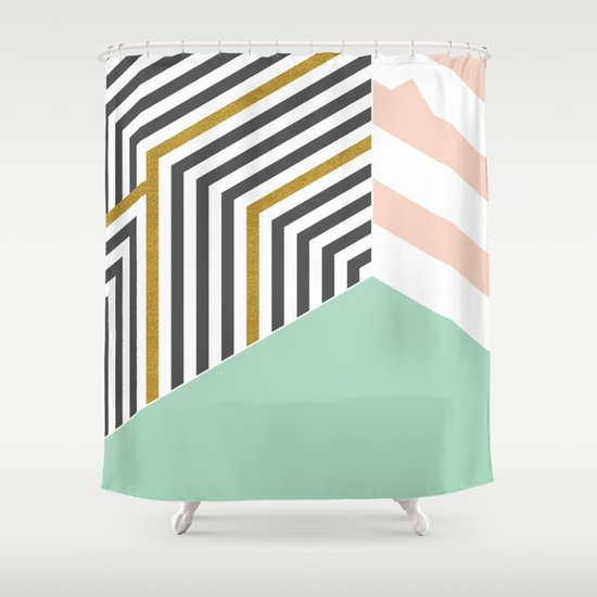 Mint Gold Room Society6 Decor Buyart Shower Curtain By