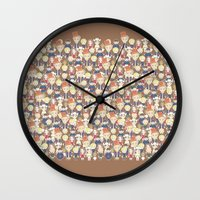 willy wonka Wall Clocks featuring Willy Wonka Pattern by Ricky Kwong