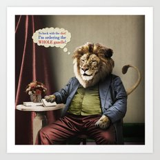 Hungry Lion Art Print