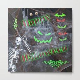 Green / Red Happy Halloween Metal Print