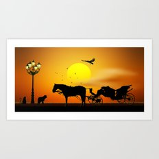 The Meeting Of The Animals Art Print