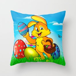 Easter bunny rabbit with Easter basket Throw Pillow