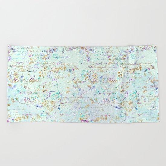 Swirls gold teal lavender Beach Towel