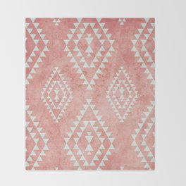 mint & coral tribal pattern (2) Throw Blanket