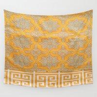 "orange pattern Wall Tapestries featuring OrangE paTTern by ""CVogiatzi."