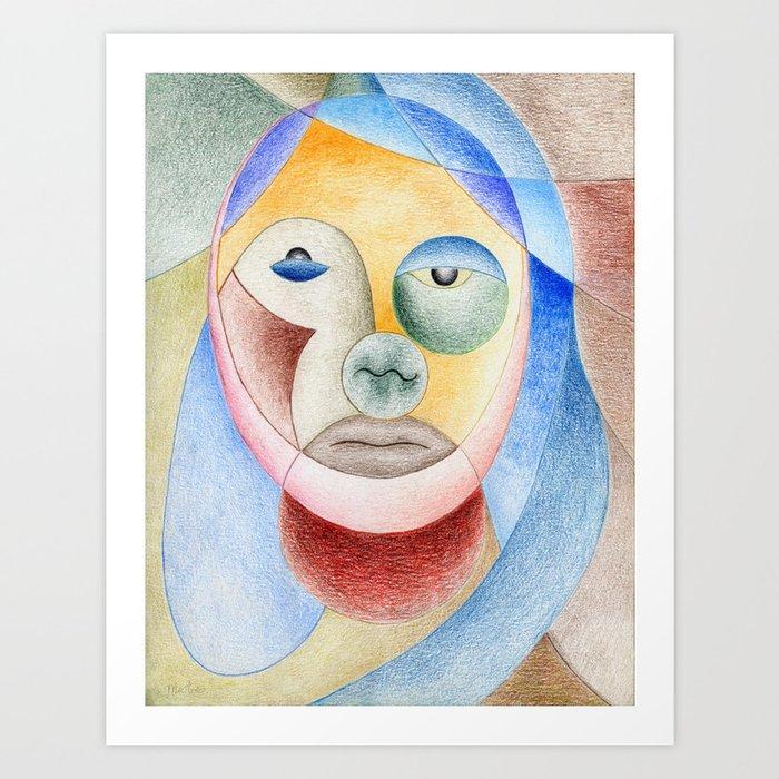 Face with circles Art Print