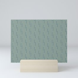 Soft Aqua Blue Green Tessellation Line Pattern 21 2021 Color of the Year Aegean Teal Salisbury Green Mini Art Print