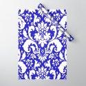 Paisley Damask Blue and White by saundramyles