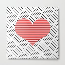 Red heart - Abstract geometric pattern - black and white. Metal Print