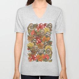 Because Sloths Autumn Unisex V-Neck