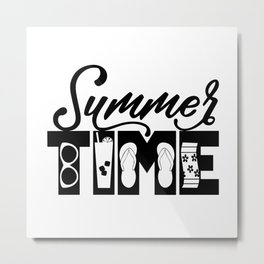 Summer TIME at the Pool Black Metal Print