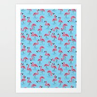 flamingos Art Prints featuring Flamingos by WanderingBert / David Creighton-Pester