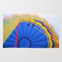 hot air balloon Area & Throw Rugs featuring BALLOON LOVE - Hot Air Balloon by Brian Raggatt