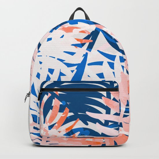Tropical palms blue and coral Backpack