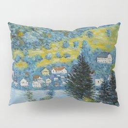 Variegated Blue Alpine Village 'Little Venice' on Lake Attersee in Austrian Alps by Gustav Klimt Pillow Sham