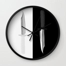Double Dark & White Knives Wall Clock