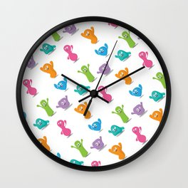 Friendly jelly monsters Wall Clock