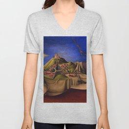 'The Dream of the Malinche' magical realism dream portrait painting by Antonio Ruiz Unisex V-Neck
