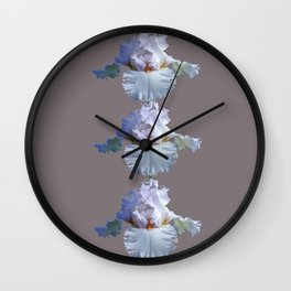 SNOW WHITE SPRING IRIS  GREY MONTAGE Wall Clock