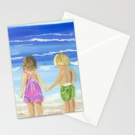 Children by the sea Stationery Cards