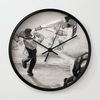 power ranger Wall Clocks featuring 'White Power' Ranger by Isaac Smith