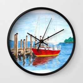 Red Boat in Annapolis Wall Clock
