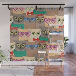 Pattern with cute owls with trendy accessories - glasses, bow-tie, flowers, scarf Wall Mural