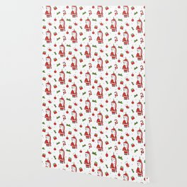 cute cartoon christmas pattern illustration with santa unicorns, gift boxes, socks, mistletoe Wallpaper