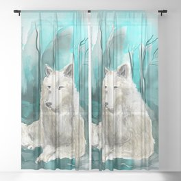 Spirit of the wolf Sheer Curtain