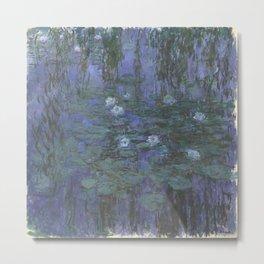 Claude Monet Water Lilies blue Metal Print