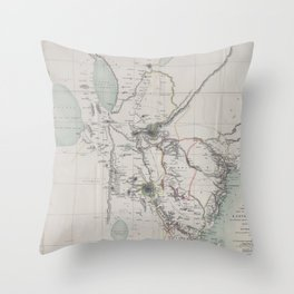 Beautiful 1870 Vintage Map of Eastern Africa Throw Pillow