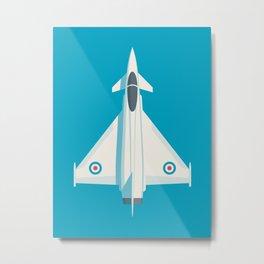 Eurofighter Typhoon Jet Fighter Aircraft - Cyan Metal Print