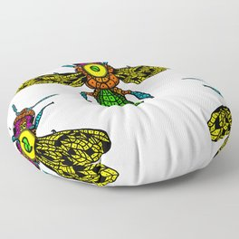 happy bees flying colorful to the hive Floor Pillow