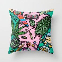 Cannabis Altar I Throw Pillow