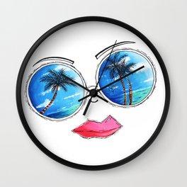 Fun Sunglass Lips PoP Art Design Summer Collection 2015 Aroon Melane Wall Clock