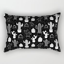 Black & White Cactus Doodle Pattern Rectangular Pillow