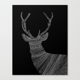 Stag / Deer (On Black) Canvas Print