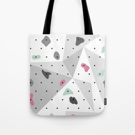 Abstract geometric climbing gym boulders pink mint Tote Bag