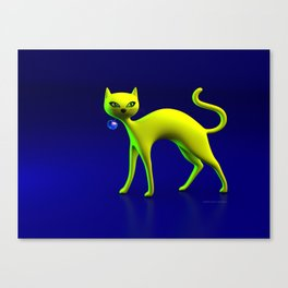 The Yellow Cat And Glass Blue Cherry Canvas Print