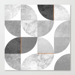 Marble Gray Copper Black and white circles Canvas Print