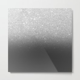 Modern faux silver glitter ombre grey black color block Metal Print