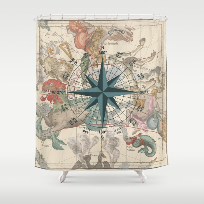 Compass Graphic with an ancient Constellation Map Shower Curtain by ...