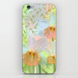 Artistic water colour, grunge swirls and daffodils iPhone Skin