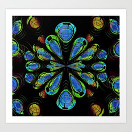 Blue Orby Abstract Art Print