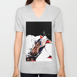 Woman wears a traditional kimono, Naked Body, Fashion illusration, Bueaty Portrait Unisex V-Neck