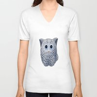 snow leopard V-neck T-shirts featuring Snow Leopard by ira gora
