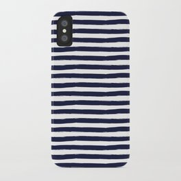 Navy Blue and White Horizontal Stripes iPhone Case