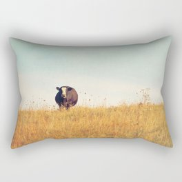 Moooo -- Autumn Landscape -- Cow in a Pasture Rectangular Pillow